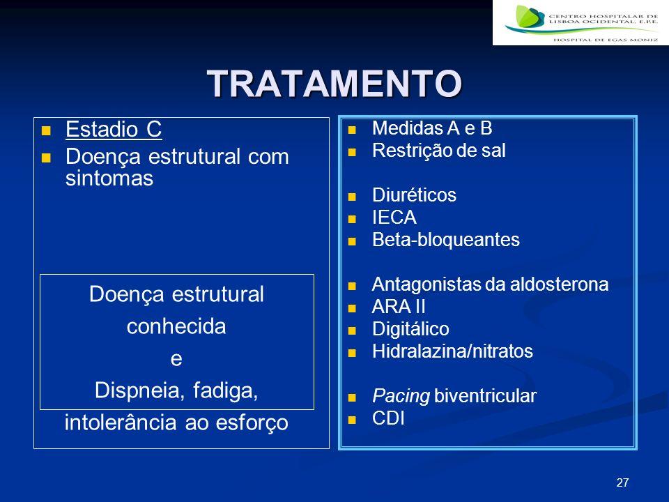 TRATAMENTO Estadio C Doença estrutural com sintomas