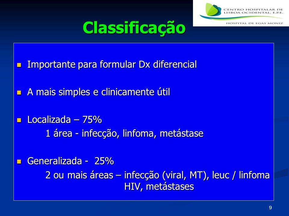 Classificação Importante para formular Dx diferencial