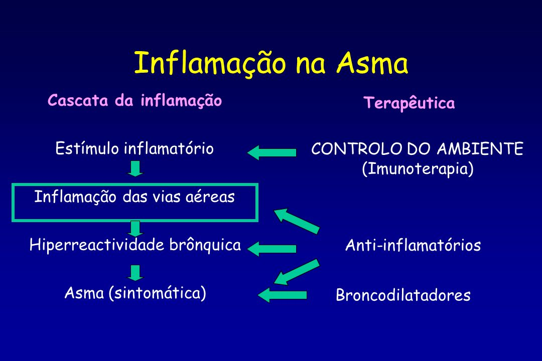 Inflamação na Asma Cascata da inflamação Terapêutica