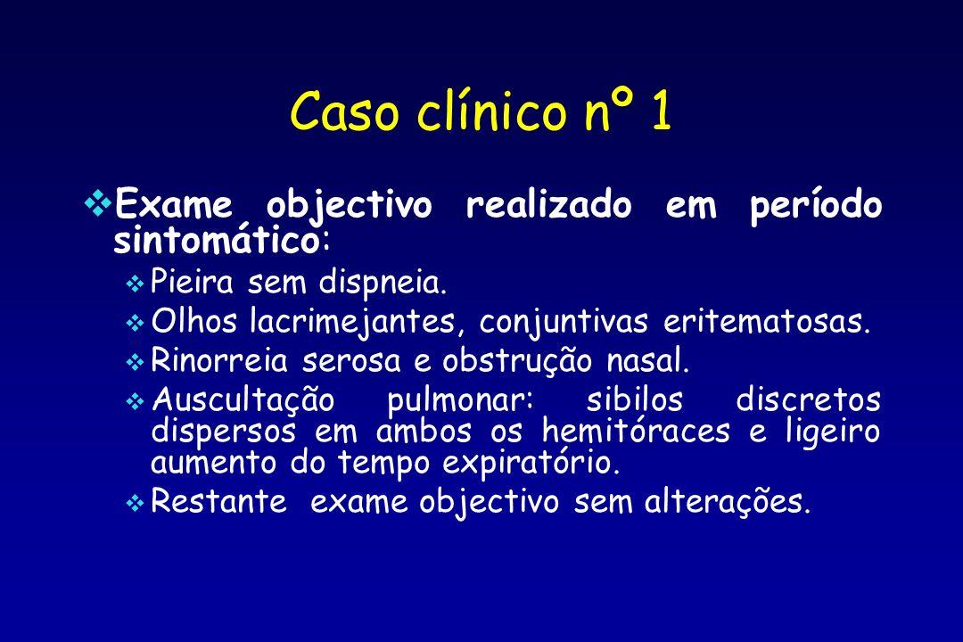 Caso clínico nº 1 Exame objectivo realizado em período sintomático: