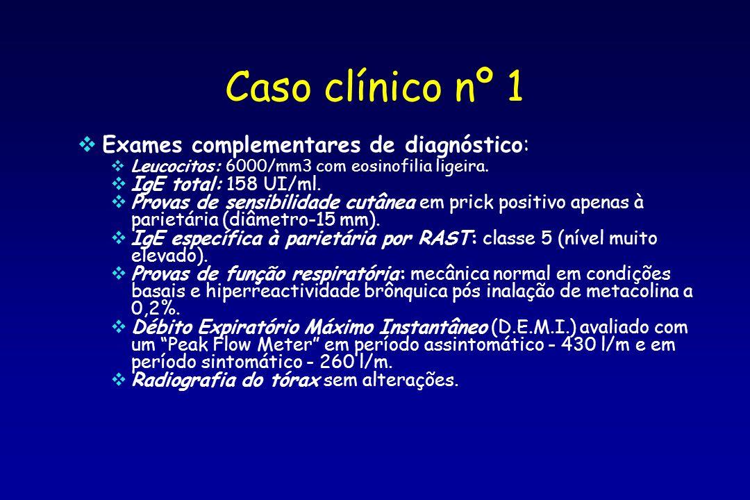 Caso clínico nº 1 Exames complementares de diagnóstico: