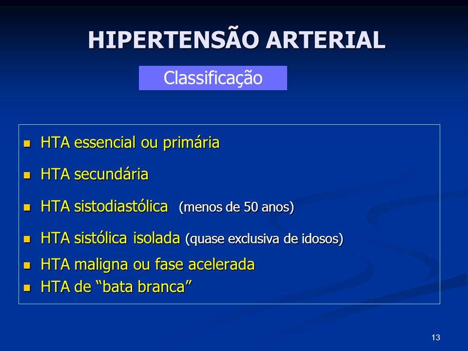 HIPERTENSÃO ARTERIAL Classificação HTA essencial ou primária