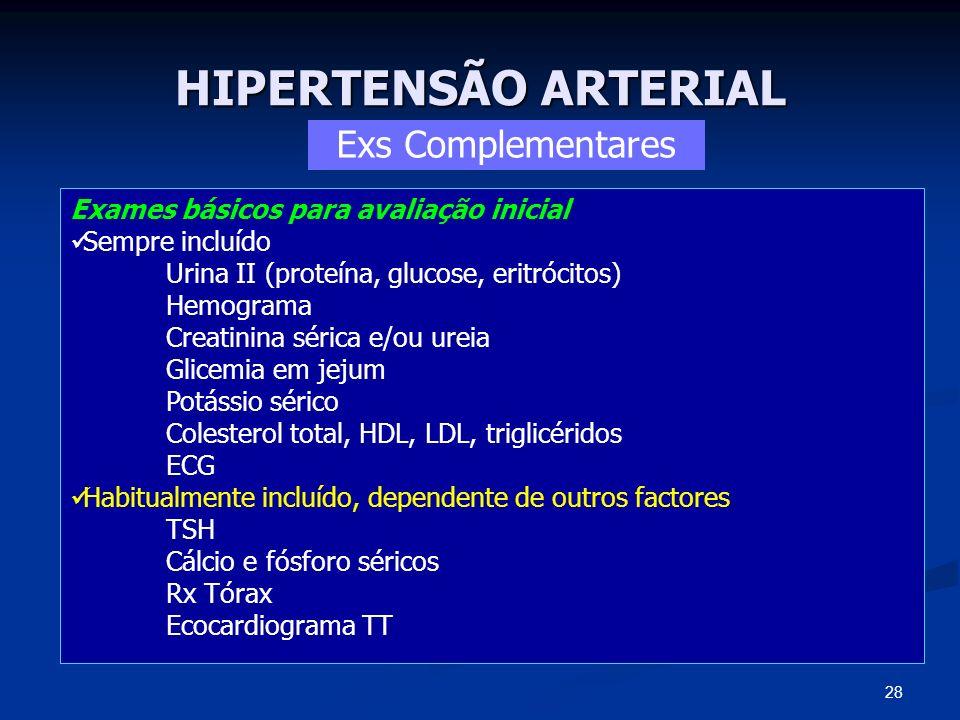 HIPERTENSÃO ARTERIAL Exs Complementares
