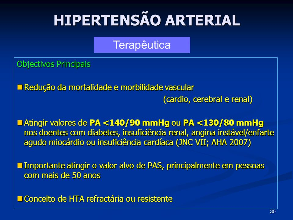 HIPERTENSÃO ARTERIAL Terapêutica Objectivos Principais