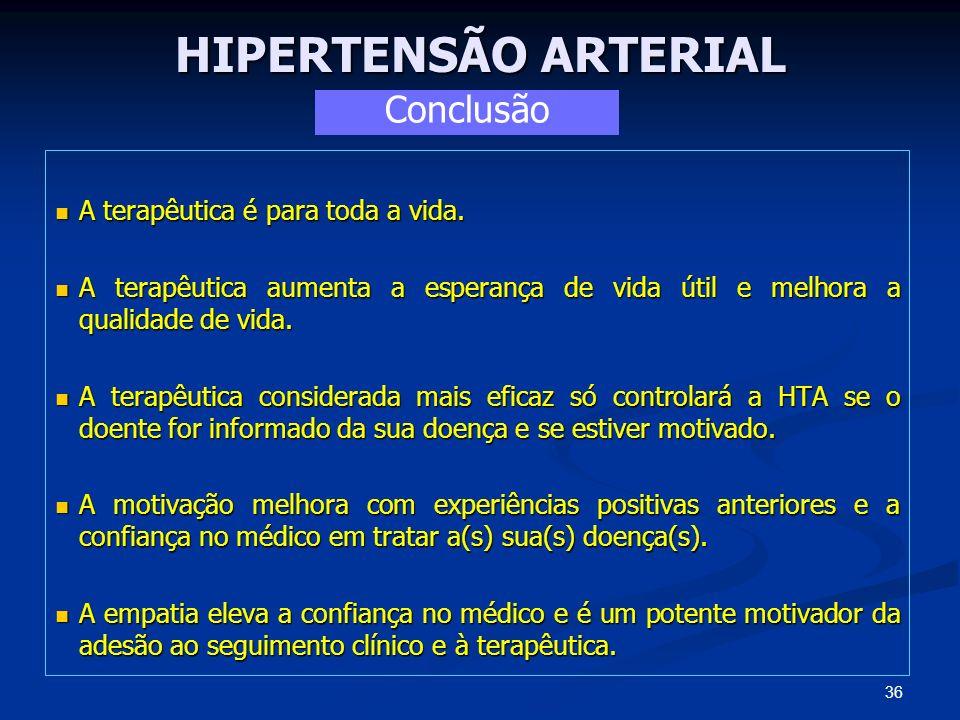 HIPERTENSÃO ARTERIAL Conclusão A terapêutica é para toda a vida.