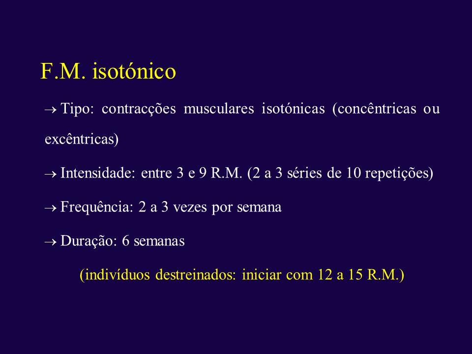 (indivíduos destreinados: iniciar com 12 a 15 R.M.)