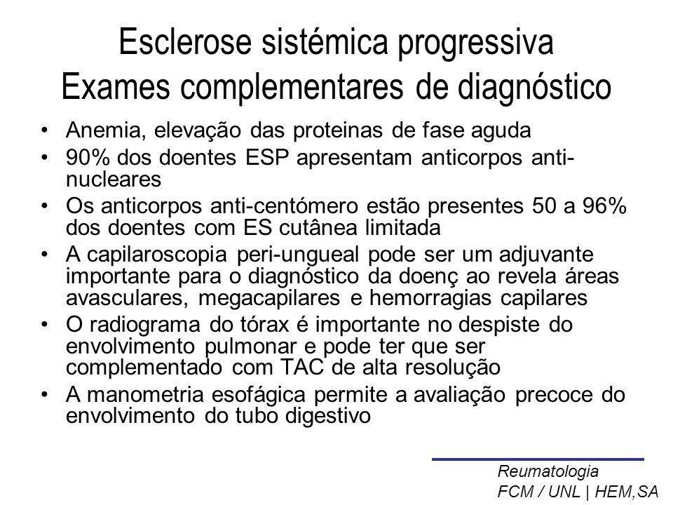 Esclerose sistémica progressiva Exames complementares de diagnóstico