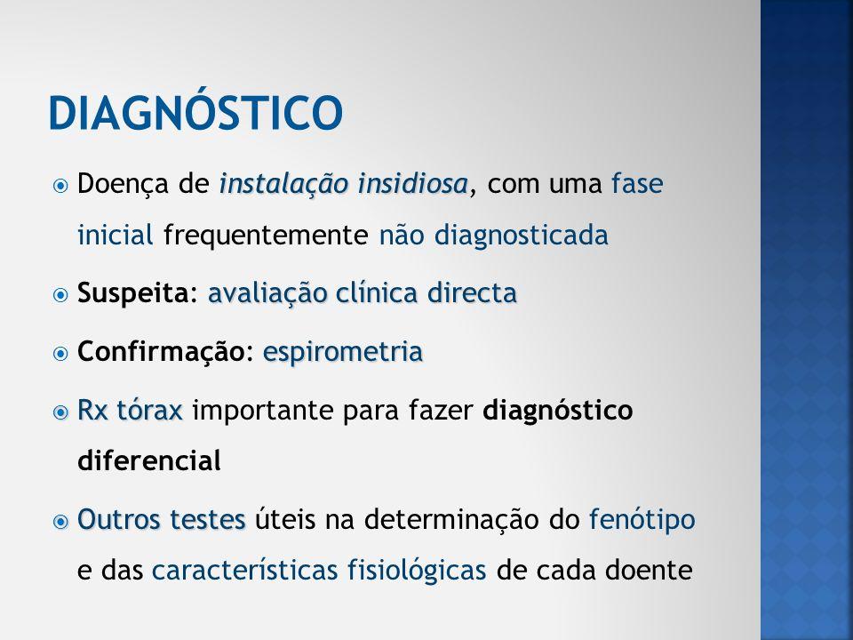 DIAGNÓSTICO Doença de instalação insidiosa, com uma fase inicial frequentemente não diagnosticada.