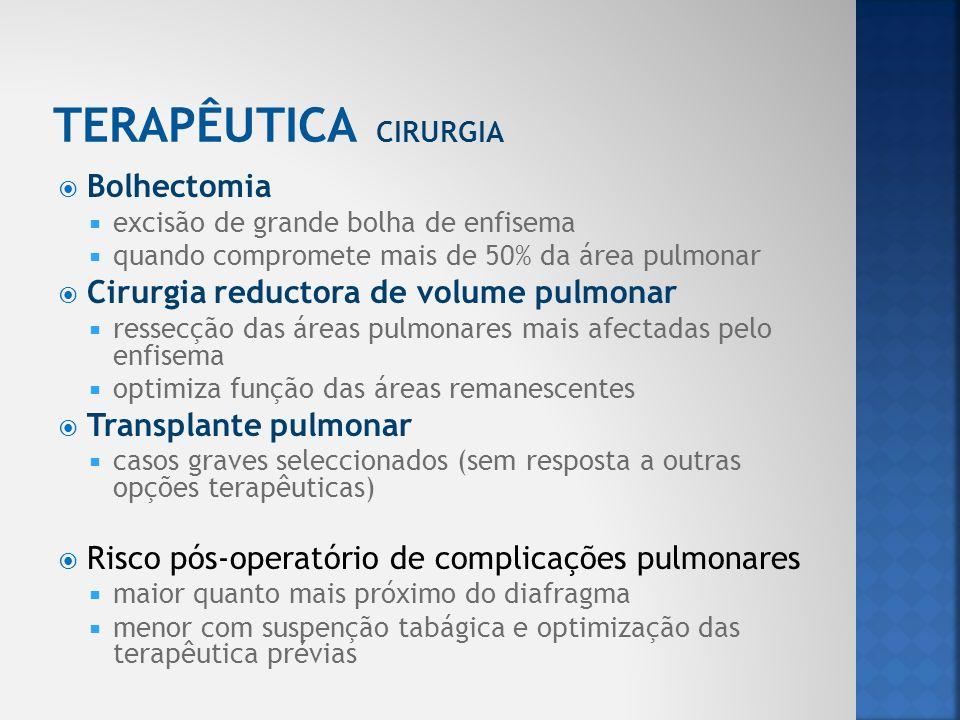 TERAPÊUTICA CIRURGIA Bolhectomia Cirurgia reductora de volume pulmonar