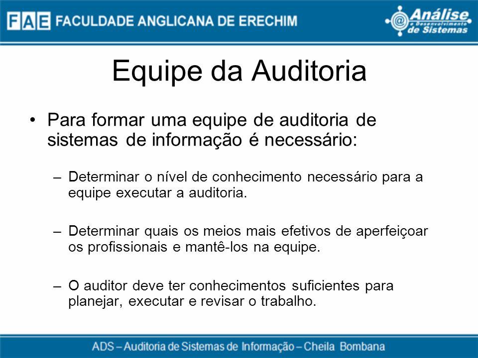 Equipe da AuditoriaPara formar uma equipe de auditoria de sistemas de informação é necessário: