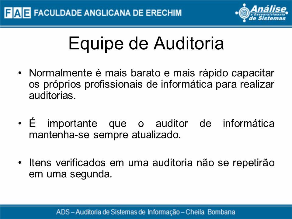 Equipe de Auditoria Normalmente é mais barato e mais rápido capacitar os próprios profissionais de informática para realizar auditorias.