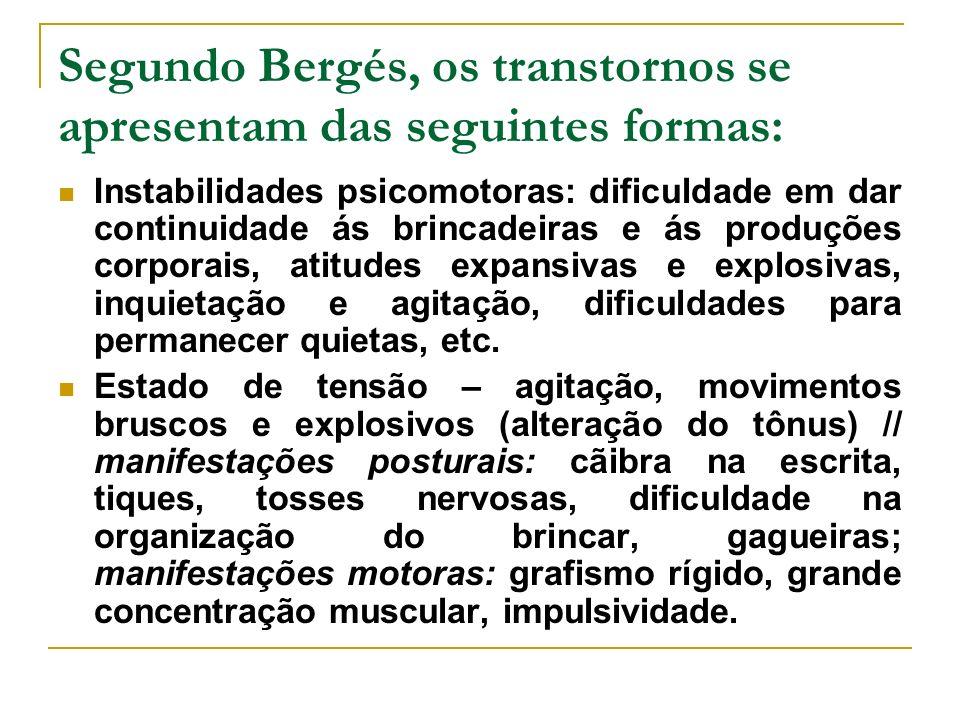 Segundo Bergés, os transtornos se apresentam das seguintes formas: