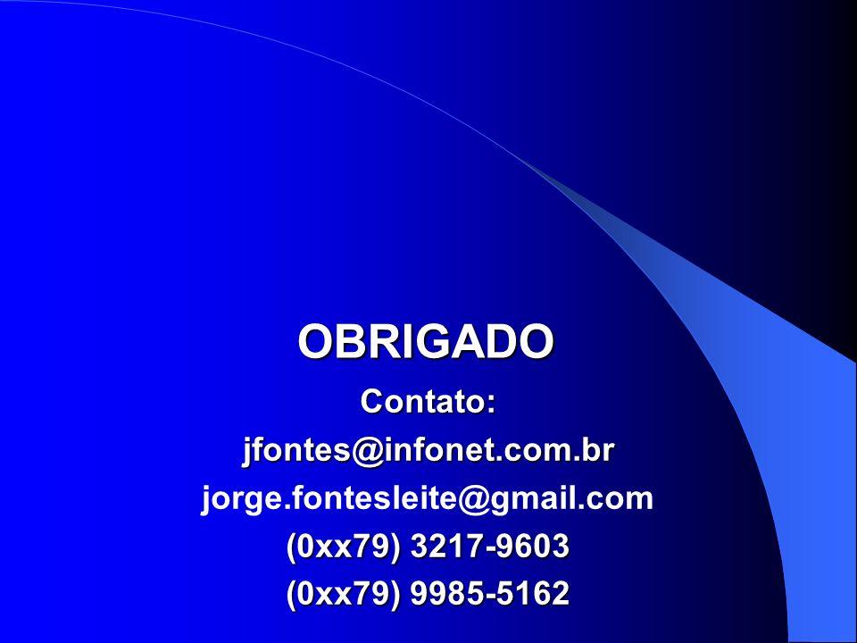 OBRIGADO Contato: jfontes@infonet.com.br jorge.fontesleite@gmail.com