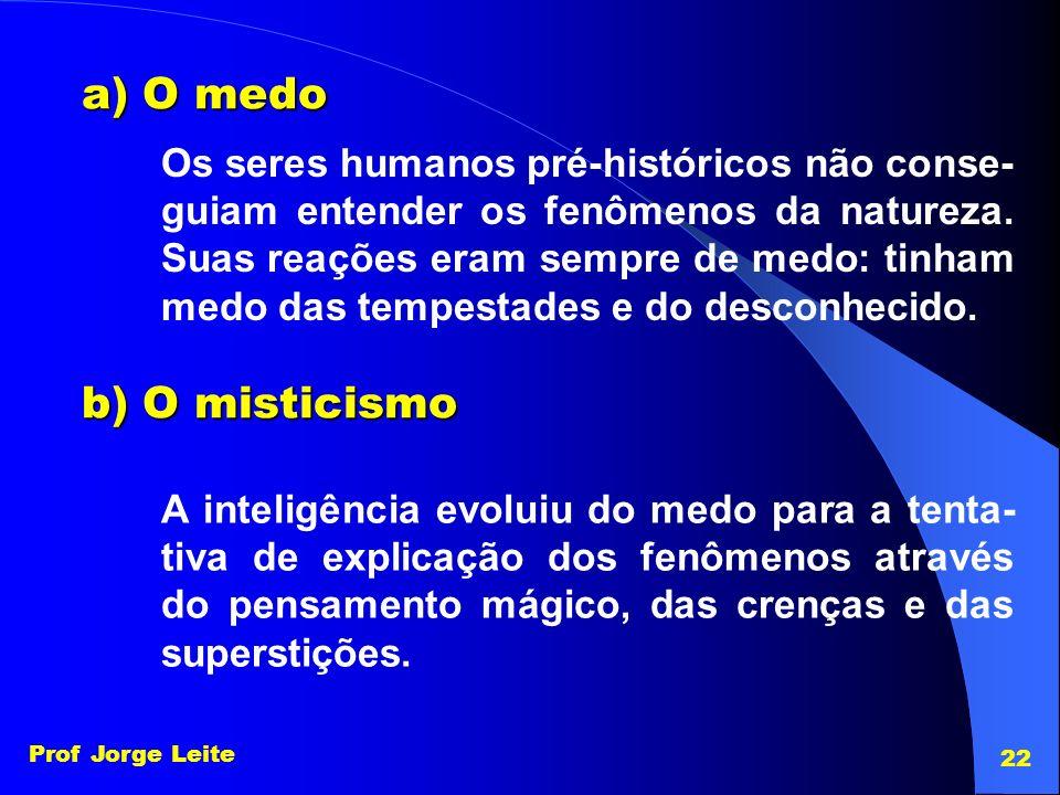 a) O medo b) O misticismo