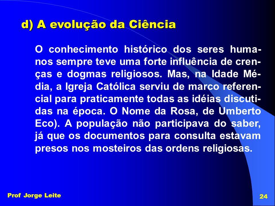 d) A evolução da Ciência