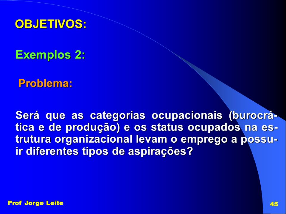 OBJETIVOS: Exemplos 2: Problema:
