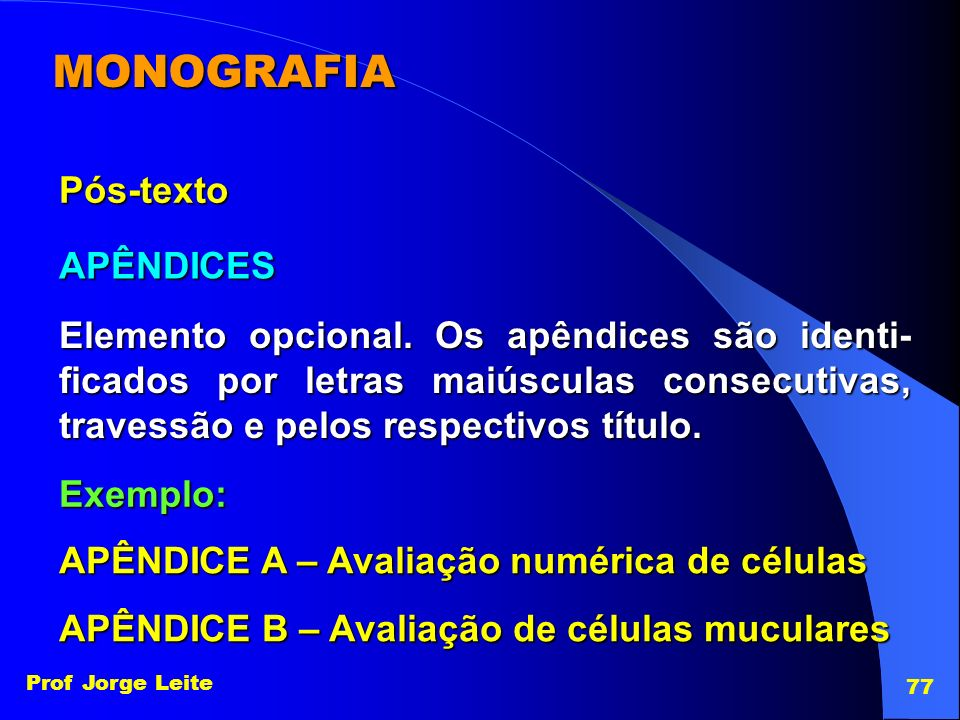 MONOGRAFIA Pós-texto APÊNDICES