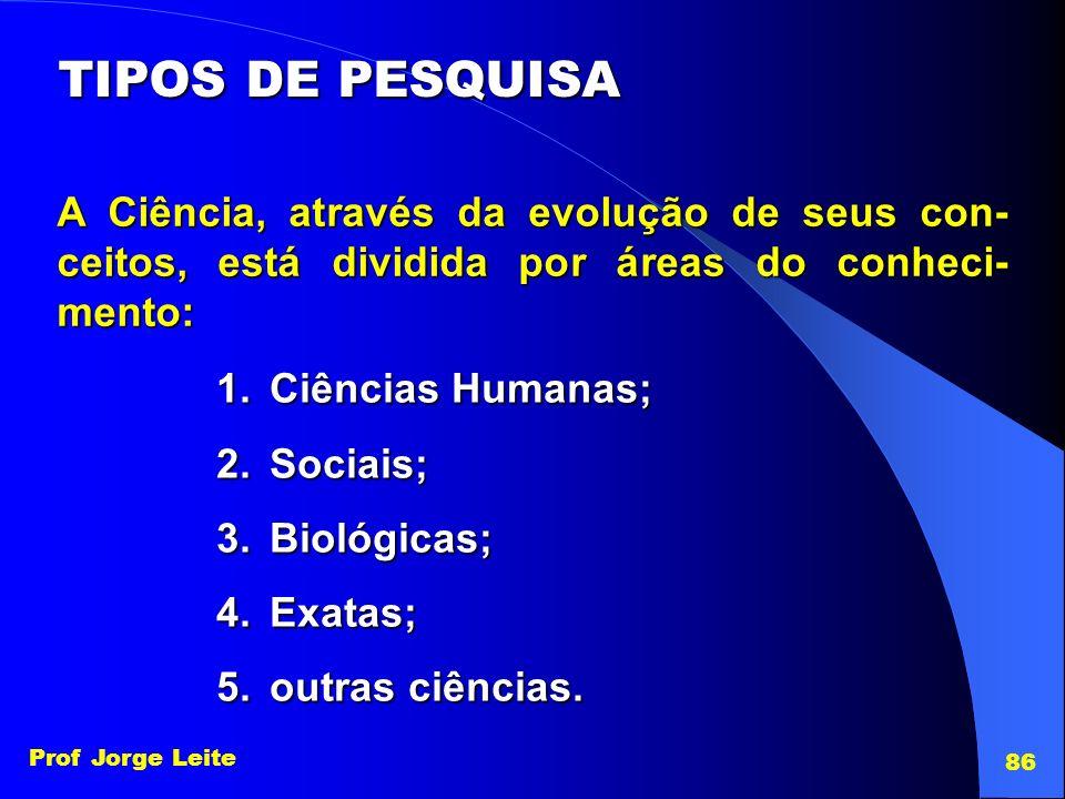 TIPOS DE PESQUISA A Ciência, através da evolução de seus con-ceitos, está dividida por áreas do conheci-mento:
