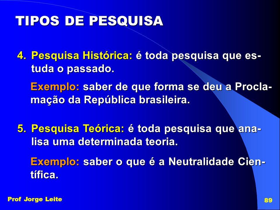 TIPOS DE PESQUISA Pesquisa Histórica: é toda pesquisa que es-tuda o passado.