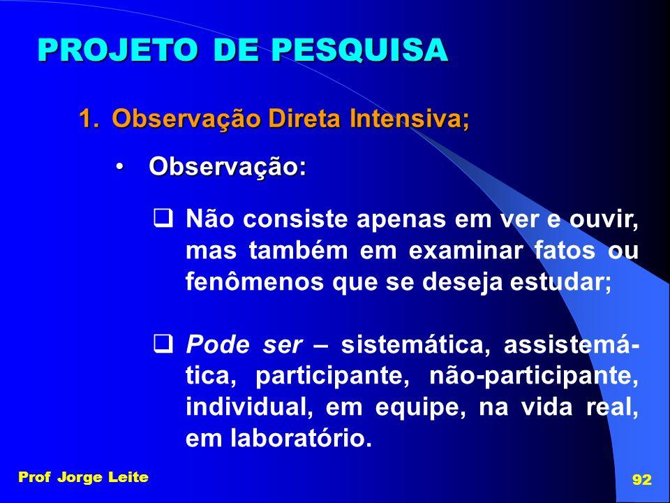 PROJETO DE PESQUISA Observação Direta Intensiva; Observação: