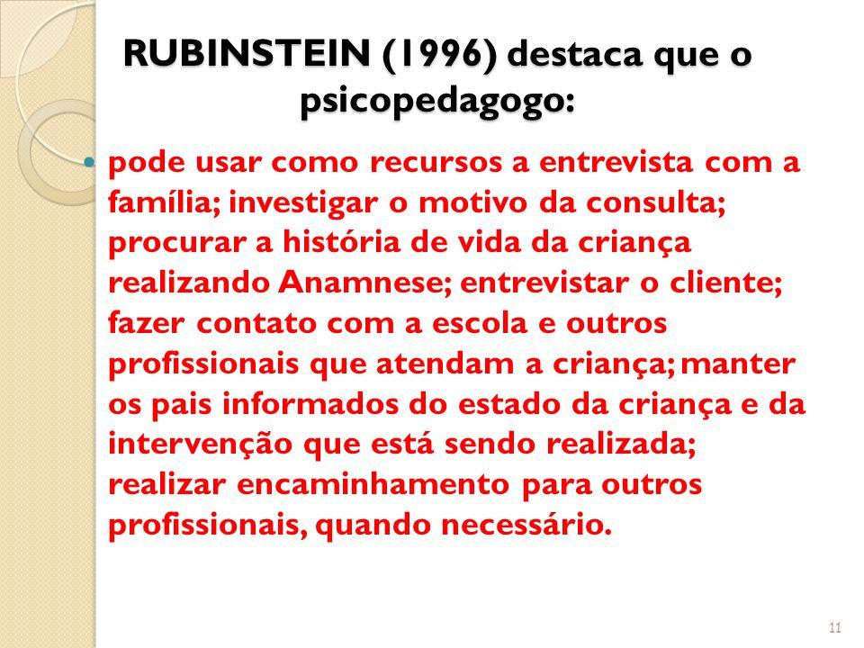 RUBINSTEIN (1996) destaca que o psicopedagogo: