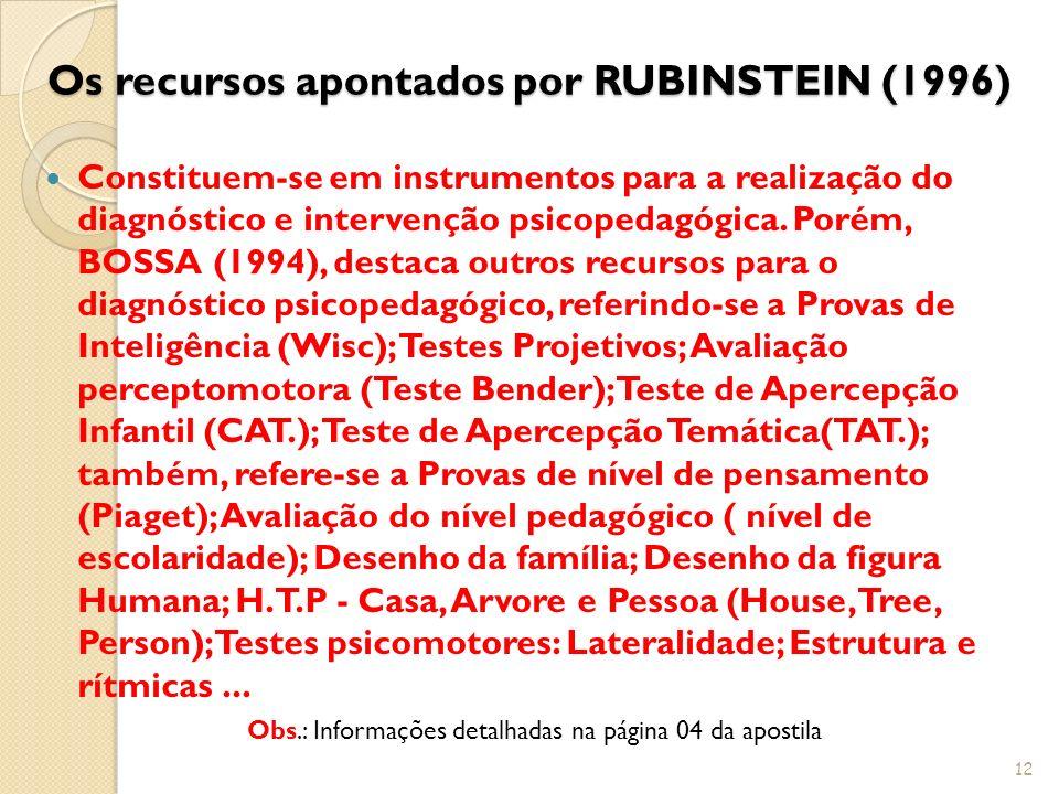 Os recursos apontados por RUBINSTEIN (1996)