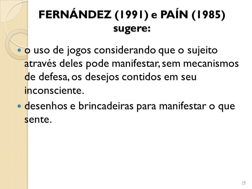 FERNÁNDEZ (1991) e PAÍN (1985) sugere: