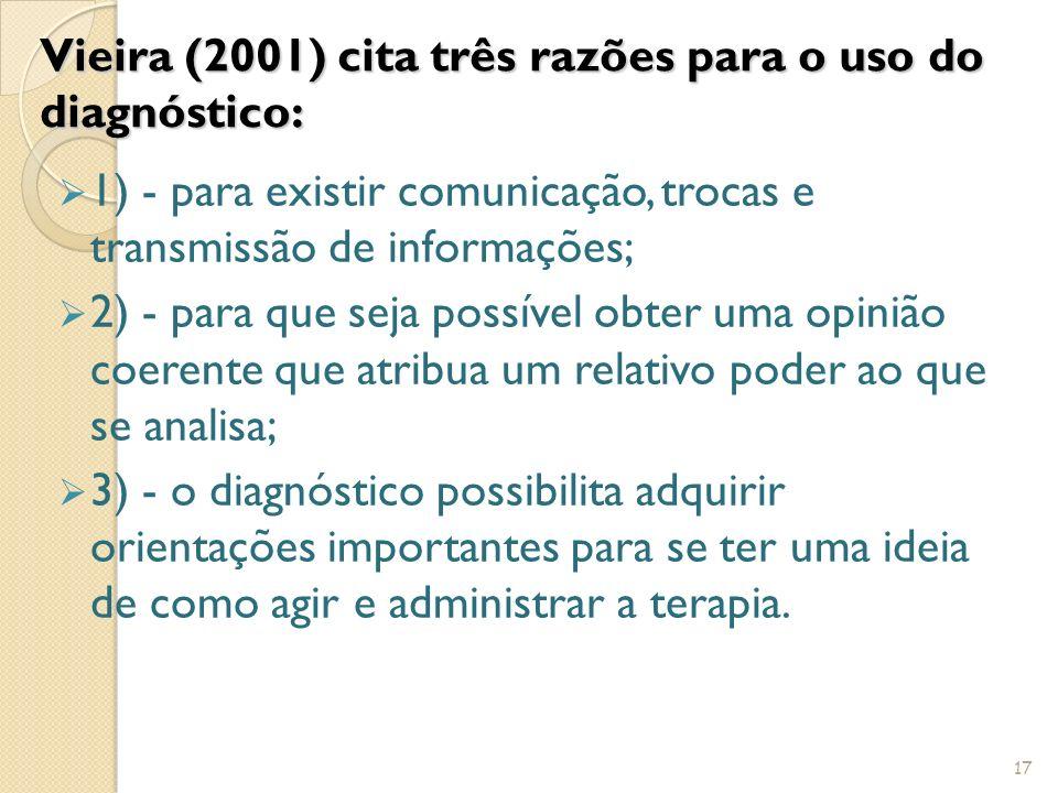 Vieira (2001) cita três razões para o uso do diagnóstico: