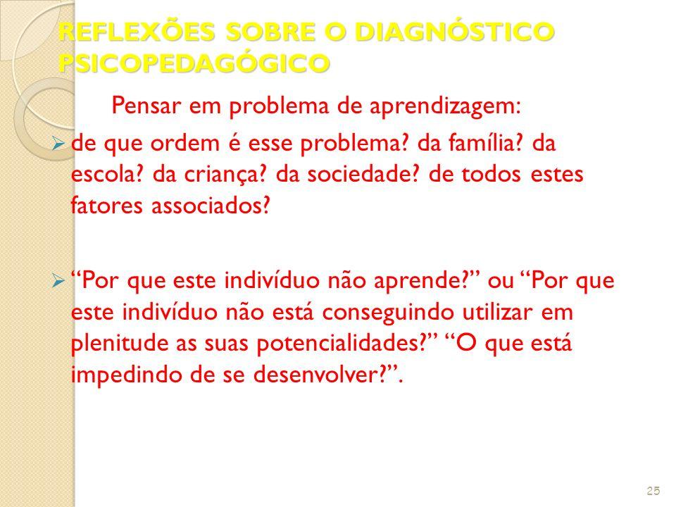 REFLEXÕES SOBRE O DIAGNÓSTICO PSICOPEDAGÓGICO
