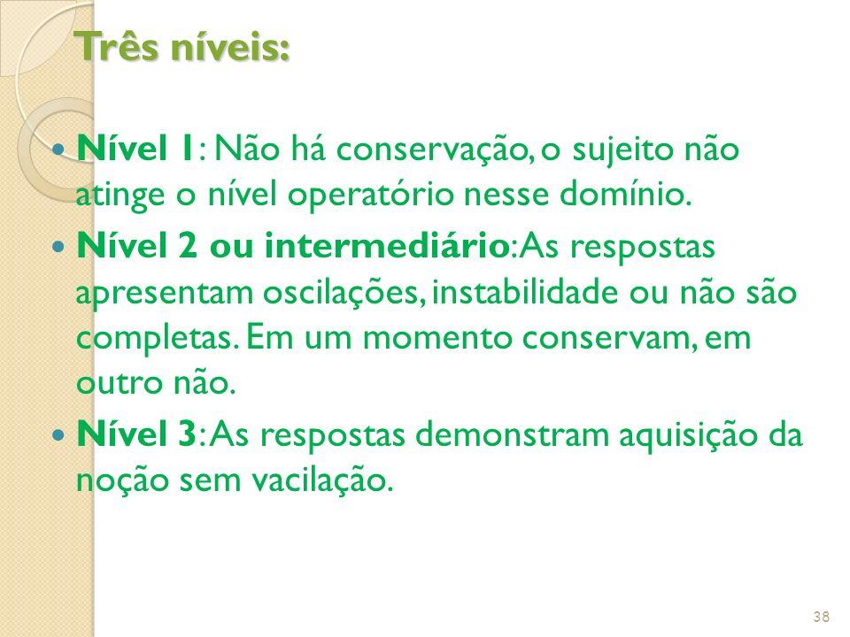 Três níveis: Nível 1: Não há conservação, o sujeito não atinge o nível operatório nesse domínio.
