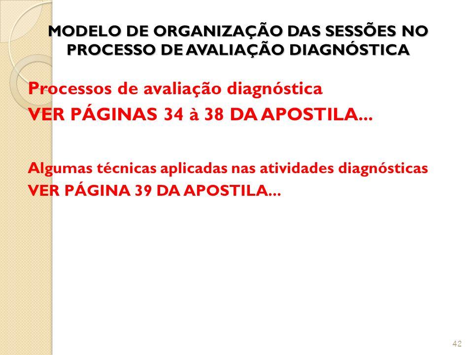 MODELO DE ORGANIZAÇÃO DAS SESSÕES NO PROCESSO DE AVALIAÇÃO DIAGNÓSTICA