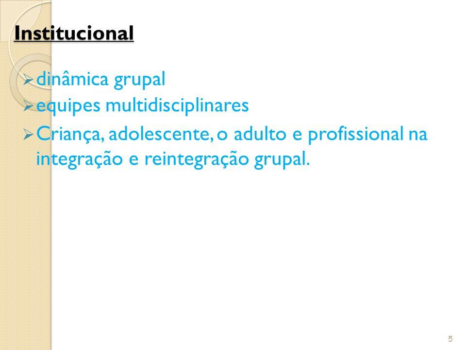 Institucional dinâmica grupal. equipes multidisciplinares.