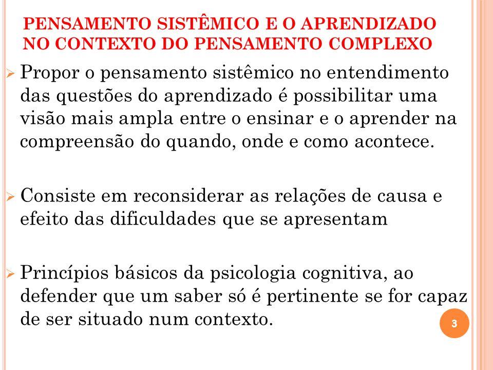 PENSAMENTO SISTÊMICO E O APRENDIZADO NO CONTEXTO DO PENSAMENTO COMPLEXO