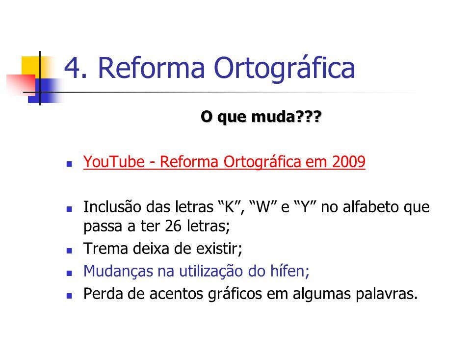 4. Reforma Ortográfica O que muda