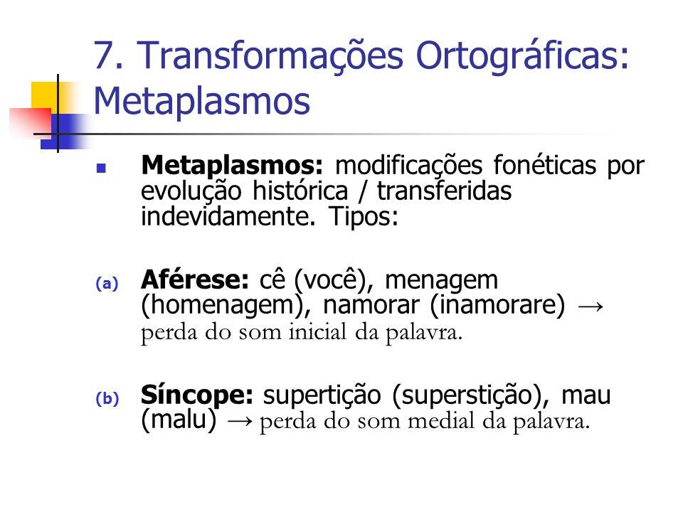 7. Transformações Ortográficas: Metaplasmos