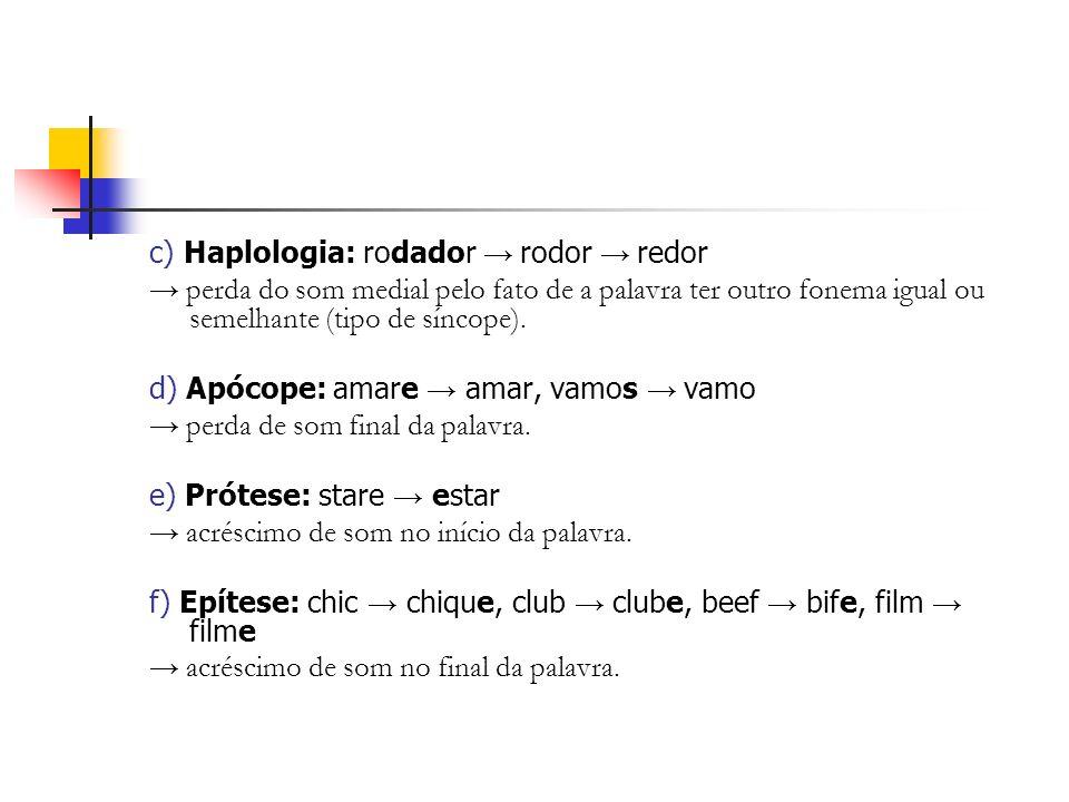 c) Haplologia: rodador → rodor → redor