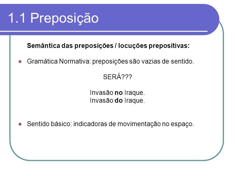 1.1 Preposição Semântica das preposições / locuções prepositivas: