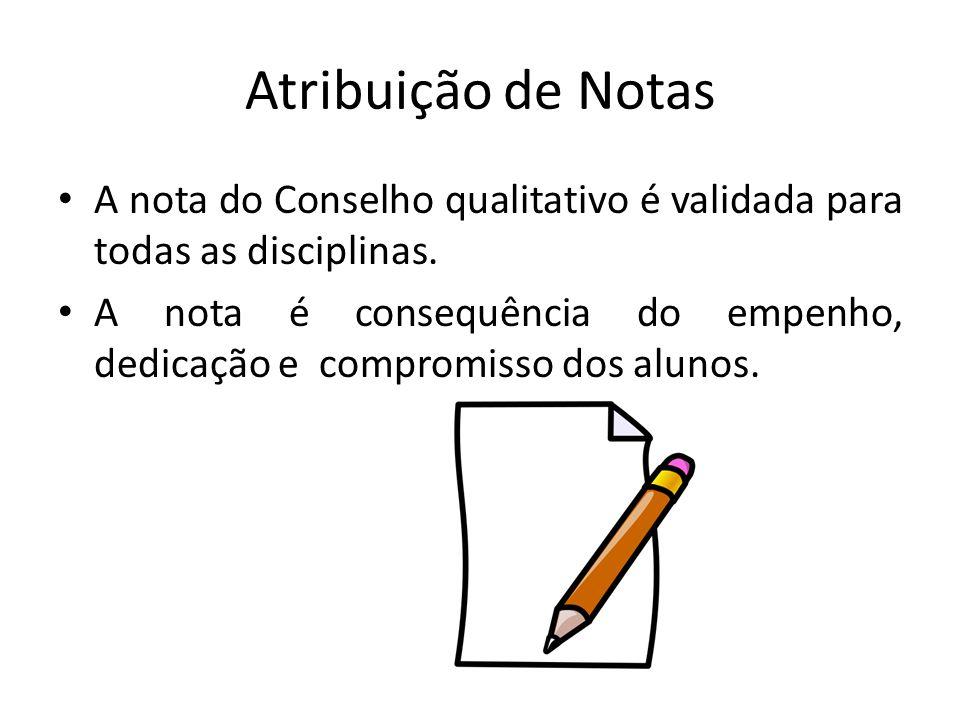 Atribuição de Notas A nota do Conselho qualitativo é validada para todas as disciplinas.
