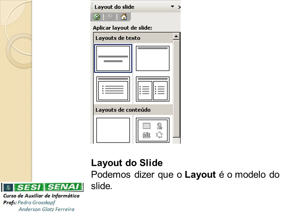 Layout do Slide Podemos dizer que o Layout é o modelo do slide.