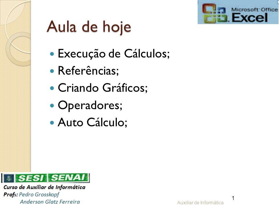 Aula de hoje Execução de Cálculos; Referências; Criando Gráficos;