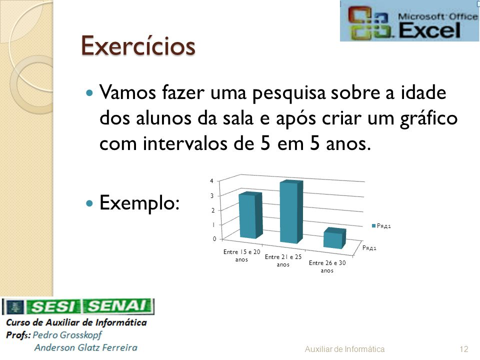 ExercíciosVamos fazer uma pesquisa sobre a idade dos alunos da sala e após criar um gráfico com intervalos de 5 em 5 anos.