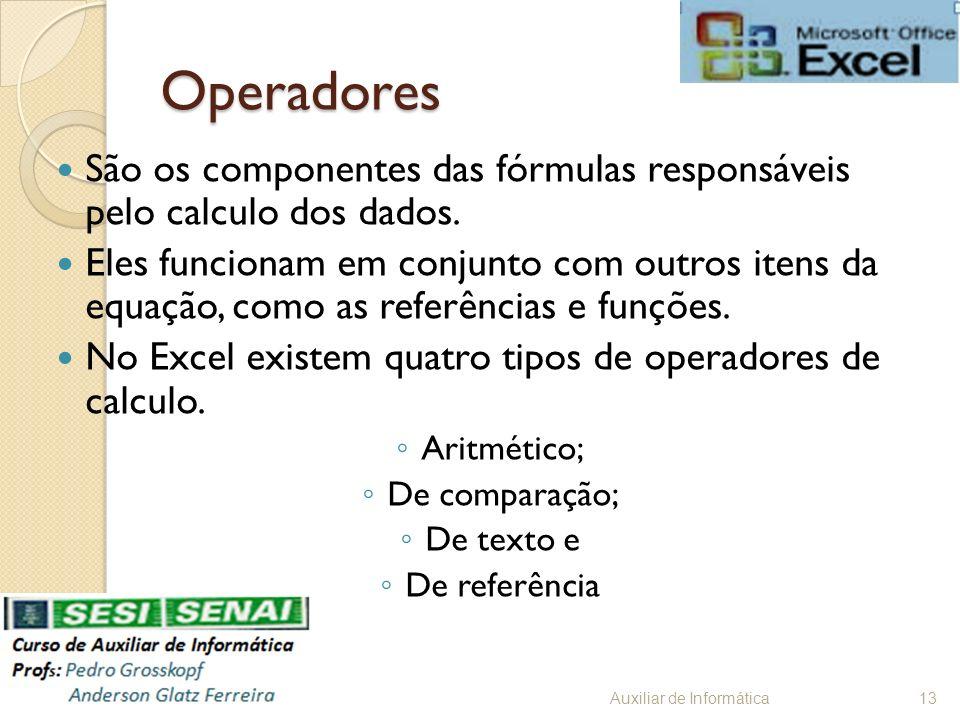 Operadores São os componentes das fórmulas responsáveis pelo calculo dos dados.