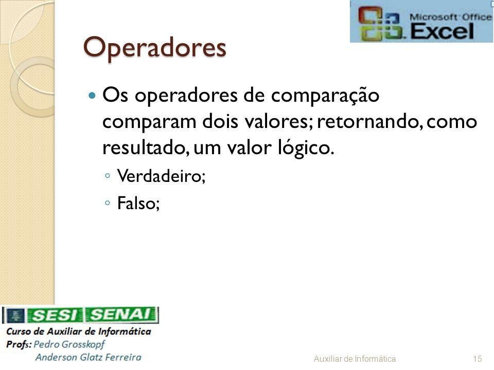 Operadores Os operadores de comparação comparam dois valores; retornando, como resultado, um valor lógico.