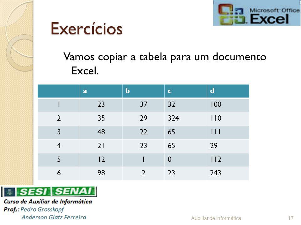Exercícios Vamos copiar a tabela para um documento Excel. a b c d 1 23