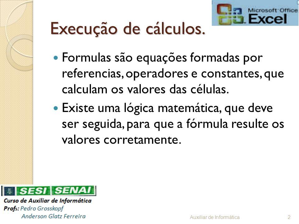 Execução de cálculos. Formulas são equações formadas por referencias, operadores e constantes, que calculam os valores das células.