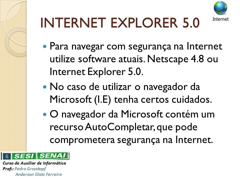 INTERNET EXPLORER 5.0 Para navegar com segurança na Internet utilize software atuais. Netscape 4.8 ou Internet Explorer 5.0.