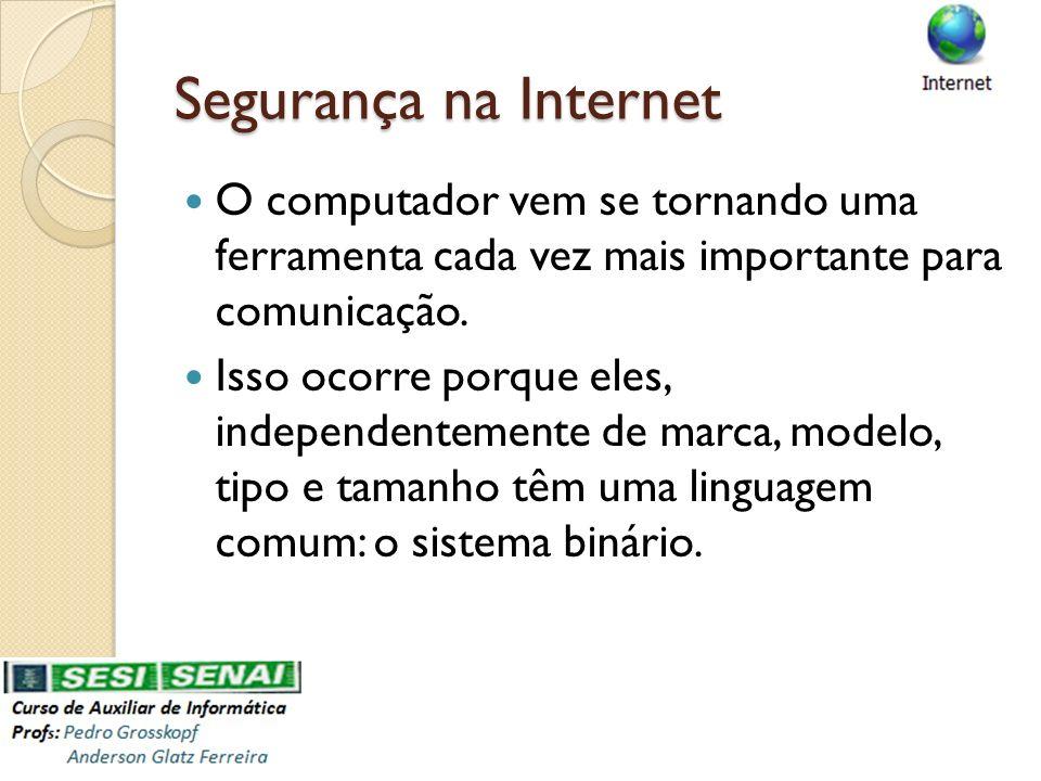 Segurança na Internet O computador vem se tornando uma ferramenta cada vez mais importante para comunicação.
