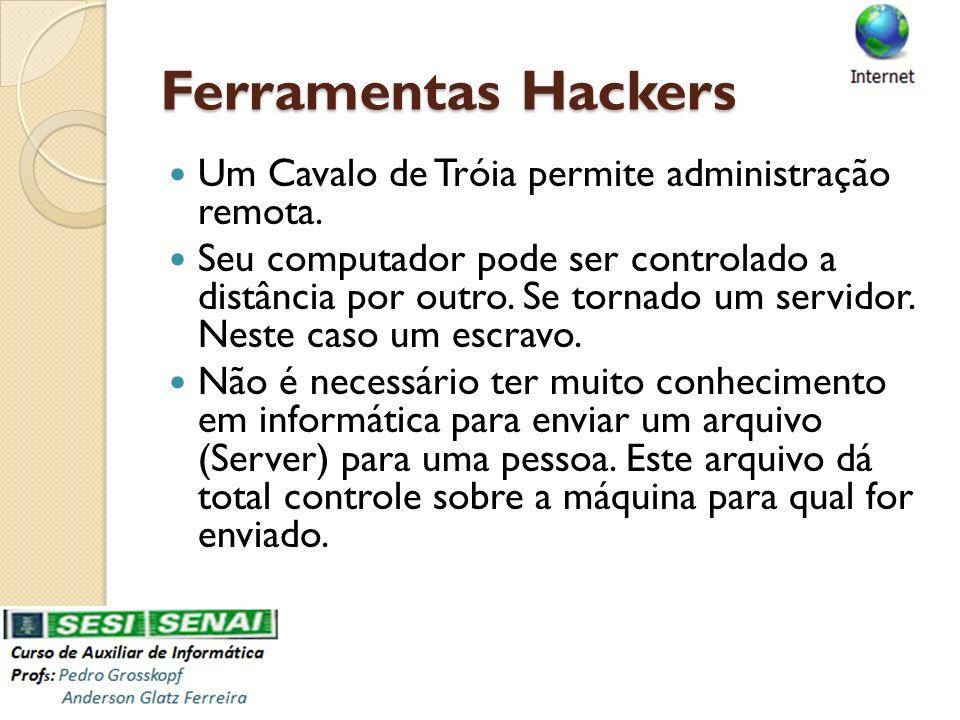 Ferramentas Hackers Um Cavalo de Tróia permite administração remota.