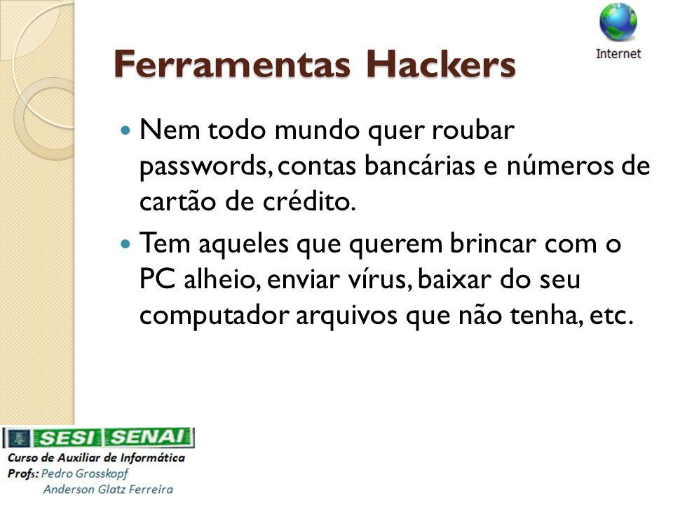 Ferramentas Hackers Nem todo mundo quer roubar passwords, contas bancárias e números de cartão de crédito.