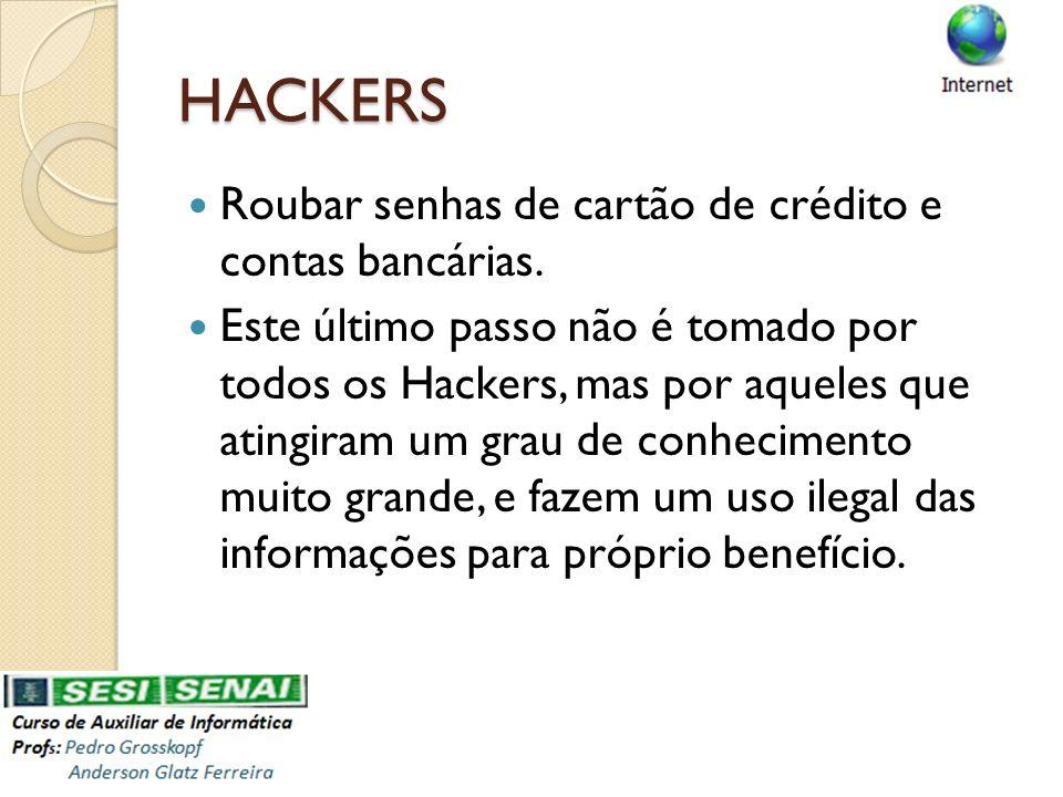HACKERS Roubar senhas de cartão de crédito e contas bancárias.